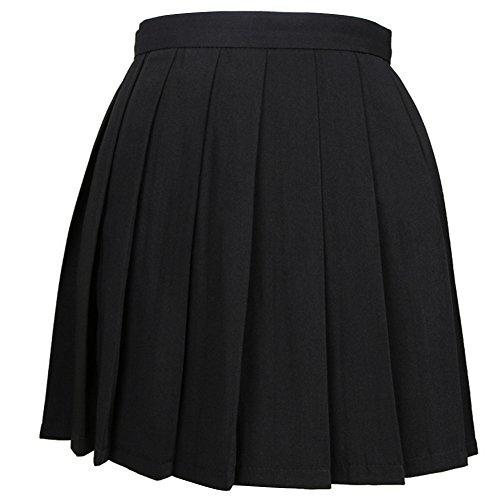 iSpchen Butterme Mujeres Beil?ufige Alto Entallada de Plegado Cosplay Disfraces Faldas Uniforme de la Escuela de a Line Mini Vestido Negro Negro Medium