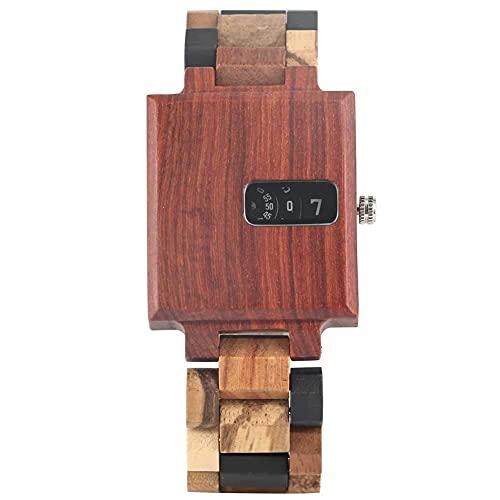 HYLX Reloj Creativo de Cuarzo Cuadrado de ébano para Hombre, Relojes clásicos de Madera marrón Oscuro para Hombre, Reloj de Pulsera con Cierre Plegable sólido para Marido