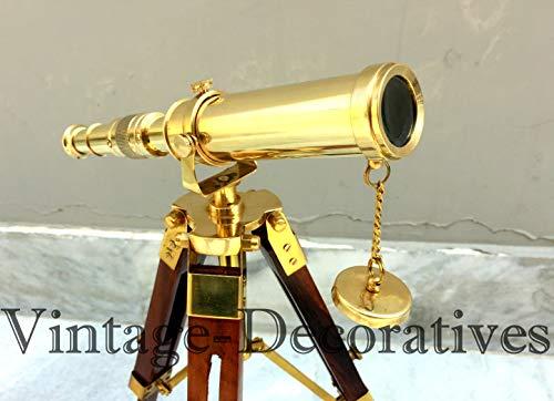Trípode telescópico por Decorativos Vintage Alcance de Trabajo Marino Hecho a Mano Piratas Catalejo con Soporte marrón Mini telescopio de Piso