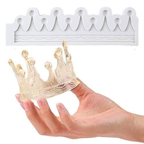 QELEG Crown Mold Cake Fondant Mold Silicone Mold Sugar for Cake Decoration (Crown)
