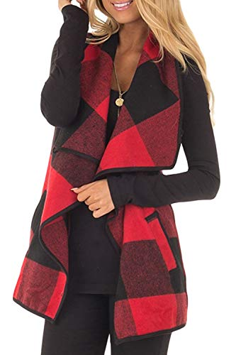 Yacun Women Vest Lapel Open Front Buffalo Plaid Sleeveless Cardigan Jacket Coat with Pockets Red L