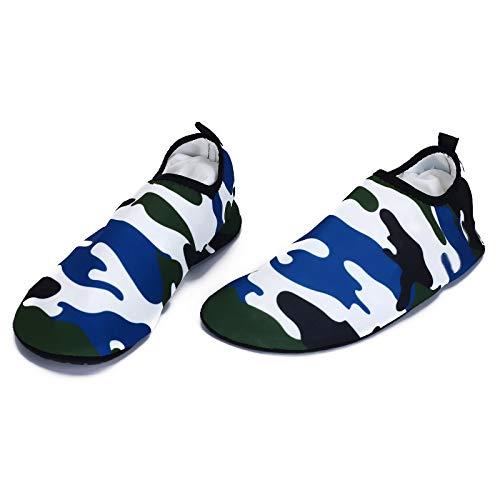 JIAGU Aqua Socks - Calcetines para hombre y mujer con resorte descalzo, antideslizantes, aletas suaves para playa, natación, surf, yoga (color: azul, tamaño: 38)