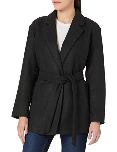 ONLY Damen ONLTRILLION Belt Coatigan PNT Jacke, Dark Grey Melange/Detail:W. Melange, S