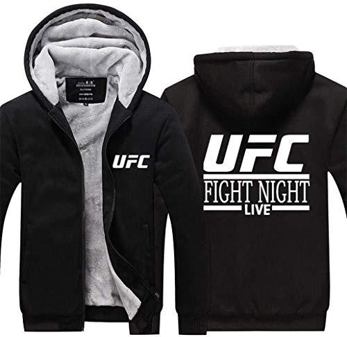 Elegante y cómodo Chaqueta unisex con capucha - UFC noche luchando Impreso caliente de la capa del suéter - Zip Uniforme de béisbol de empalme manga larga suéter-adolescente regalo M-XXXL ,estilo clás