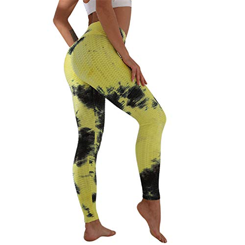 zhanxin High Waist Leggings Sport Women Printed Fitness Yoga Pants Seamless Workout Leggings Stretchy Running Trousers Black Yellow