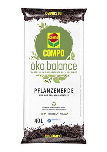 Compo öko balance Pflanzerde, Für alle Pflanzen geeignet, Bio, Vegan, Torffrei, 40 Liter