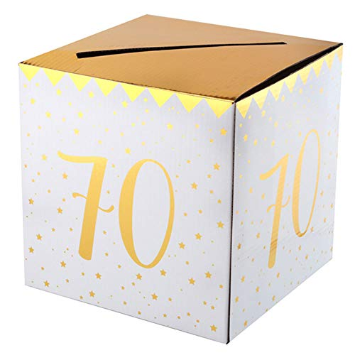 WOOOOZY Geldbox 70. Geburtstag, Gold-weiß, 20x20x20 cm