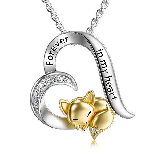 LONAGO Argent Sterling 925 Collier de Renard Pour Toujours Dans Mon Coeur Mignonne Renard Pendentif Collier Bijoux pour Femmes