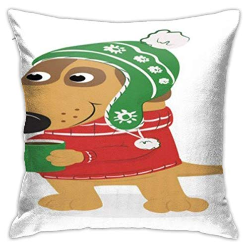 Cushion Cover Christmas Cartoon Dog With Cozy Cloths And Hot Chocolate Mugfern Green Dark Coral Dark Mustard Throw Pillow Covers Soft Bedroom Square Car Colorful Sofa Personalized