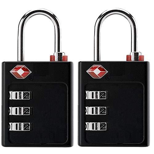Bosvision 2 stuks TSA Goedgekeurd 3-cijferige combinatie hangslot met zoekalarm voor bagage, koffer, tas. (6 stickers)