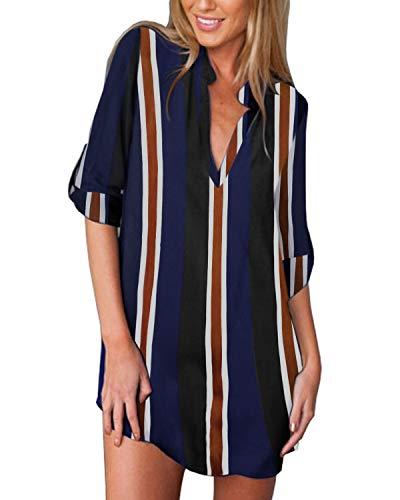 ZANZEA Camicia Donna Chiffon Sexy Stampa Camicetta Lunga Elegante Scollo V Manica 3/4 Sciolto Blusa Casual Blue Stripe 48 EU
