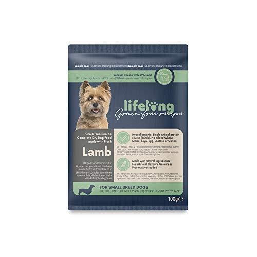 Amazon-Marke: Lifelong Alleinfuttermittel für ausgewachsene Hunde mit frischem Lamm, getreidefreie Rezeptur für Hunde kleiner Rassen - 100gr