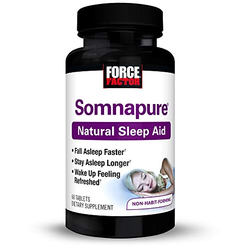 Somnapure Natural Sleep Aid for Adults with Melatonin, Valerian Root, and Lemon Balm, Non-Habit-Forming Sleeping Pills, Fall Asleep Calm at Night, Wake Up Refreshed, Force Factor, 60 Tablets