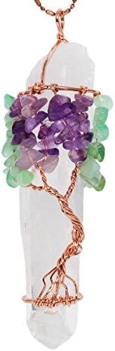 SUNYIK Natural Rock Quartz Tree of Life Pendant for Necklace Handmde Healing Crystal Point Pendants product image