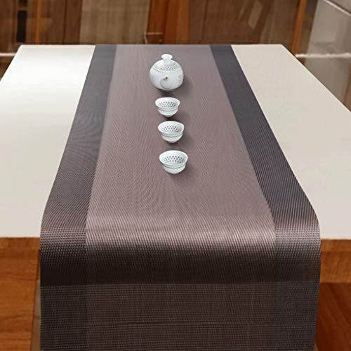 YXN moderne PVC tafelloper, rechthoekig bruin eettafel salontafel versierd tafelloper