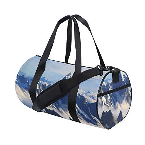 HARXISE Bolsa de Viaje,Paisaje Altas montañas majestuosas con Cook Peak Mist Cloud Earth,Bolsa de Deporte con Compartimento para Sports Gym Bag