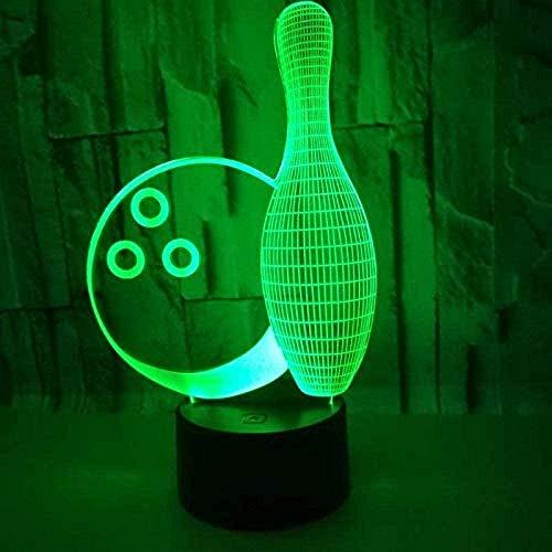 GEZHF 3D noche luz lámpara de mesita de noche Bowling control táctil para niños 7 botón de cambio de color LED escritorio cambio cargador USB interruptor alimentado chica princesa regalo decoración