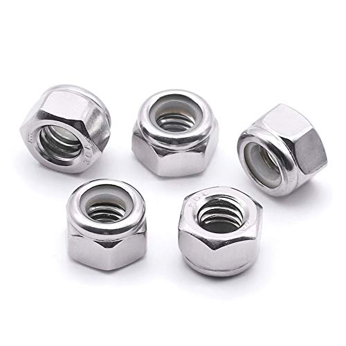 5/16-18 Nylon Insert Hex Lock Nuts, Bright Finish,304 Stainless Steel 18-8, Pack of 10