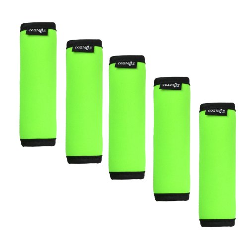 Cosmos 5 Pieces Fluorescence Green Comfort Neoprene Handle Wraps/Grip/Identifier for Travel Bag Luggage Suitcase
