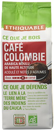Ethiquable Café Moulu Colombie Bio et Équitable 250 g Producteurs Paysans