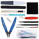 HSEAMALL Kit de herramientas de modelo Guandam, 12 piezas, herramientas de construcción de hobby, herramientas básicas para modelador Bandai Hobby Gundam modelo de coche, reparación de reparación