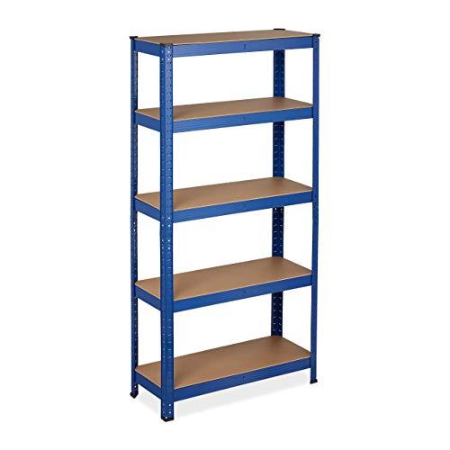 Relaxdays Estantería resistente para cargas pesadas, 150 x 75 x 30 cm, capacidad de carga de 875 kg, 5 estantes, para sótanos y garajes, acero, color azul