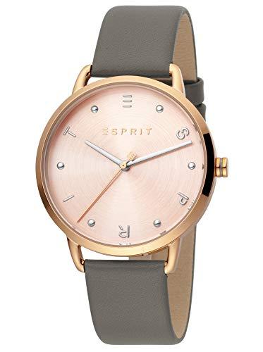 Esprit ES1L173L0045 Fun Uhr Damenuhr Lederarmband vergoldet 3 bar Analog grau