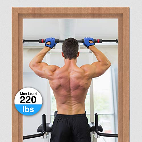 Maxfree Pull Up Bar, Chin-up Bar Doorway, Pull Up Bar for Doorway, Adjustable No Screws Required Dip Bars for Home Gym Exercise Fitness Up to 220 LBS