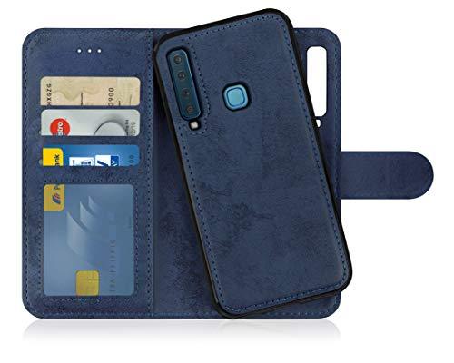 MyGadget Flip Hülle Handyhülle für Samsung Galaxy A9 2018 - Magnetische Hülle aus Kunstleder Klapphülle - Kartenfach Schutzhülle Wallet - Blau