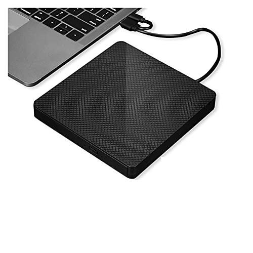 AMZSELLER External Dvd Drive External DVD Drive,USB 3.0+Type-c External DVD RW CD Writer Drive Burner Reader Player Optical Drives For Laptop PC Dvd Burner External Cd Drive (Color : Black)