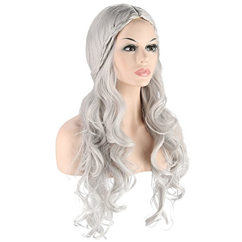 Price comparison product image Long wave curly hair cosplay Wigs for Game of Thrones Daenerys Targaryen khaleesi Long Wavy Wigs games halloween party Costumes Wigs (Silvery Grey)