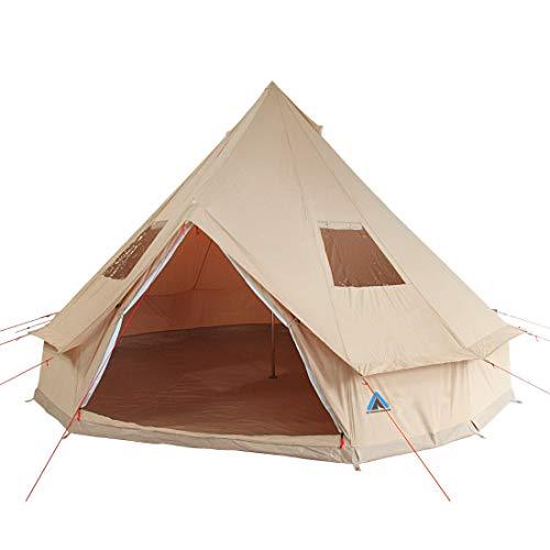 10T Tipi Tent Desert Cotton, campingtent met/zonder zonnedak & ø 400/ø 500 cm naar keuze, 8-10 man piramidetent, waterdichte Indianentent, XXL ronde tent