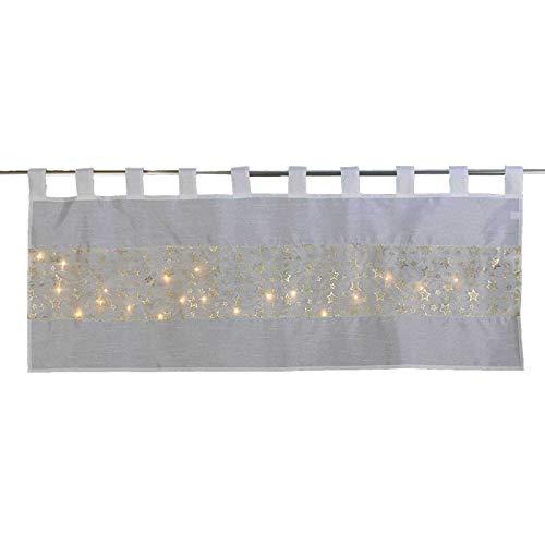 SIDCO Fenstervorhang LED Leuchtsterne Scheibengardine Fenstergardine Sterne Gold