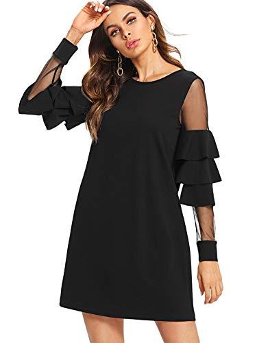 DIDK Femme Robe Courte Chic Robe à Manches Longues Cloche en Tulle Robe Tunique Col Rond Casaul Noir L