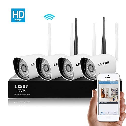 Sistema de videovigilancia 720P HD de 4 canales 2.4Ghz Cámaras de seguridad inalambricas con NVR IP66 impermeable Visión nocturna fácil instalacion. Disco Duro no incluido