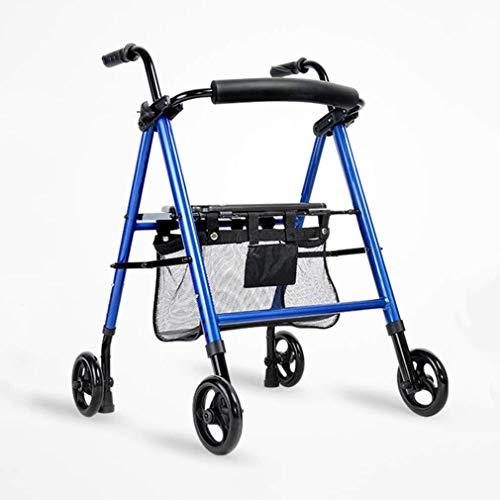 Ouderen walker Loophulpmiddelen 4 wielen Opvouwbaar, Rollator Walker met comfortabele rugleuning, Drive Medical Rolling Walker met boodschappentas Gebruikt for senioren Walking revalidatie walker