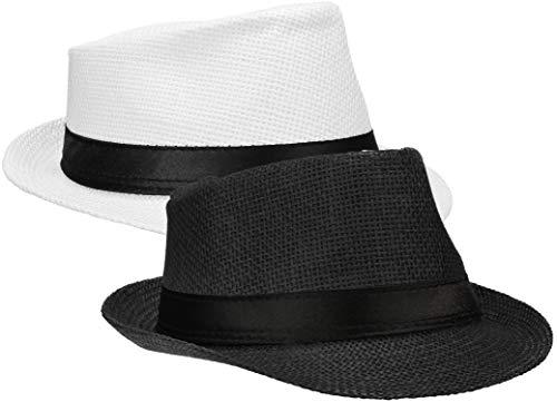 Wilhelm Sell® 2X Strohhut Panama - Sonnenhut, Fedora Hut mit schwarzem Stoffband (02 Stück - schwarz/weiß)