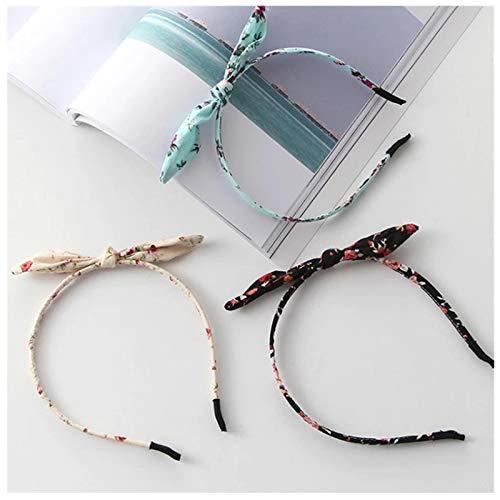 KUANGWENC 3 unids moda impresión diadema tela lazo nudo pelo aro orejas de conejo turbante diademas para la cabeza mujeres niñas accesorios para el pelo