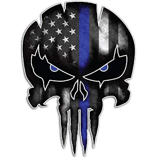 XXYMCB 9.5Cmx13Cm Delgada línea Azul Punisher cráneo Reflectante Personalizado Pegatinas de Coche calcomanías de Motocicleta 5 Piezas