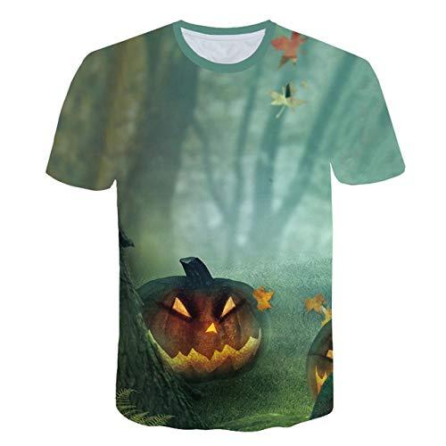DXXHR Nuevo Hombre Camiseta 3D Imprimir Calabaza Lámpara T-Shirt Hallowmas Tops Camisetas de Manga Corta Streetwear Hombres Camiseta de una Pieza Nave de la Gota