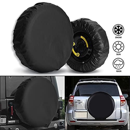Cubierta de Rueda de neumático de Repuesto de Cuero Engrosado, Ajuste Universal para automóvil, camión, SUV, Caravana, Remolque, RV FJ, Negro.