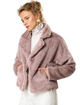 Allegra K Women s Autumn Winter Cropped Jacket Notch Lapel Faux Fur Fluffy Coat Small Dusty Pink