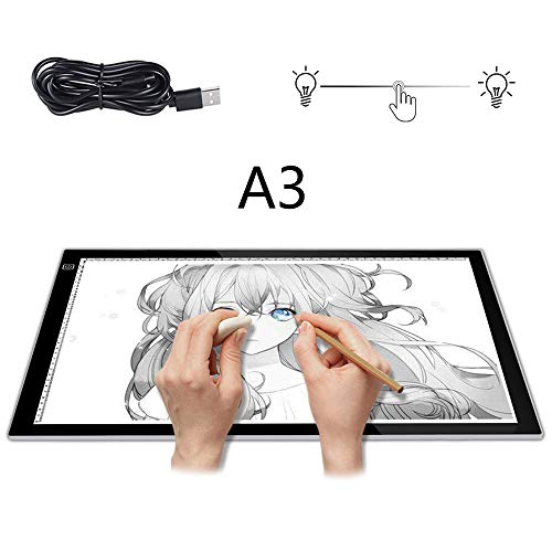 Ejoyduty Superdunne A3-lichtbox, led-tekenkopieen-lichtbox, raillicht, met instelbare helderheid, tekeningenanimatie voor de kunstenaar
