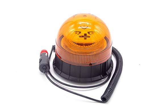 Gyrophare LED magnétique pour tracteur, camion, ou véhicule avec allume-cigare 12 ou 24 volts avec lumière ambrée clignotante et stroscopique d'urgence, incassable.