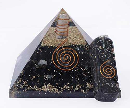KACHVI Cristales curativos Pirámide de turmalina Negra para Reiki Energía curativa Positividad Meditación de Cristal con Regalo Pirámide Negra y Colgante para la Paz