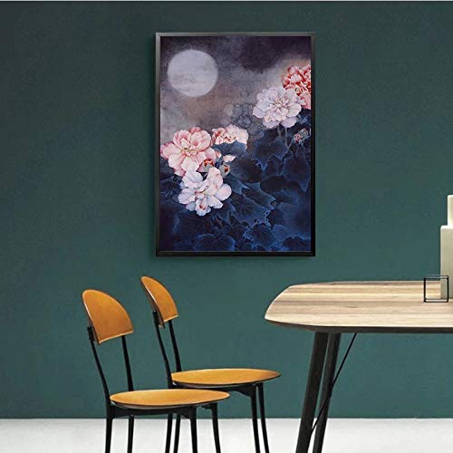 yaoxingfu Kein Rahmen Traditionelle Chinesische Blume Poster NGS Flur Der Mond Drucken Bilder Klassische Schlafzimmer Wandkunst Wohnzimmer Dekor 30x45cm