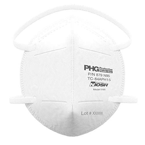 niosh n95 masks N95 Mask, NIOSH Certified, CDC Approved, MADE IN USA, ≥95% Efficiency, Particulate Filtering Facepiece Respirators for Medical Professionals & Personal Protective Use, Head-Straps, 50 Masks