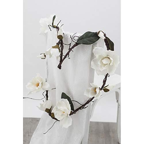 Ligne Déco | Artificial White Magnolia Flower Garland | 180 cm | Artificial Floral Composition | Hanging Garland | Home Decoration | Wedding Reception Baby Shower