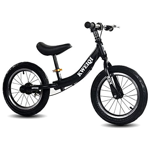 ZG-HOME Bicicleta de Equilibrio para Niños de 14 Pulgadas con Frenos para Niños Y Niñas de 3 A 7 Años,Rueda de Entrenamiento Sin Pedales First Walkers,Marco de Magnesio,Ruedas,VolanteBlack
