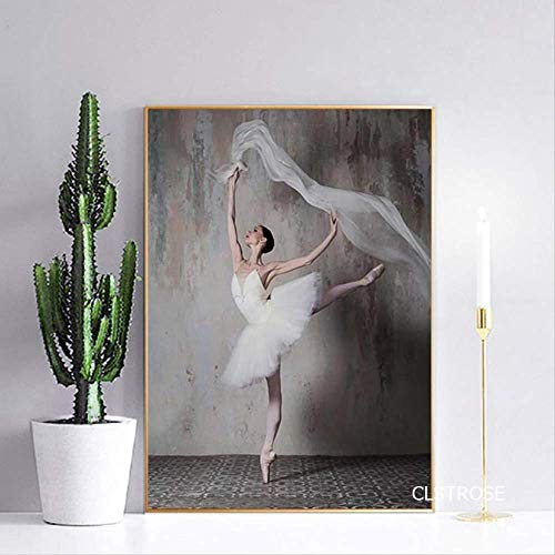LWJZQT Nordic Modern Style Ballett Mädchen Elegante Tanz Pose Poster Leinwand Bilder Für Wohnzimmer Schlafzimmer Dekor Malerei Ungerahmt 70×100cm